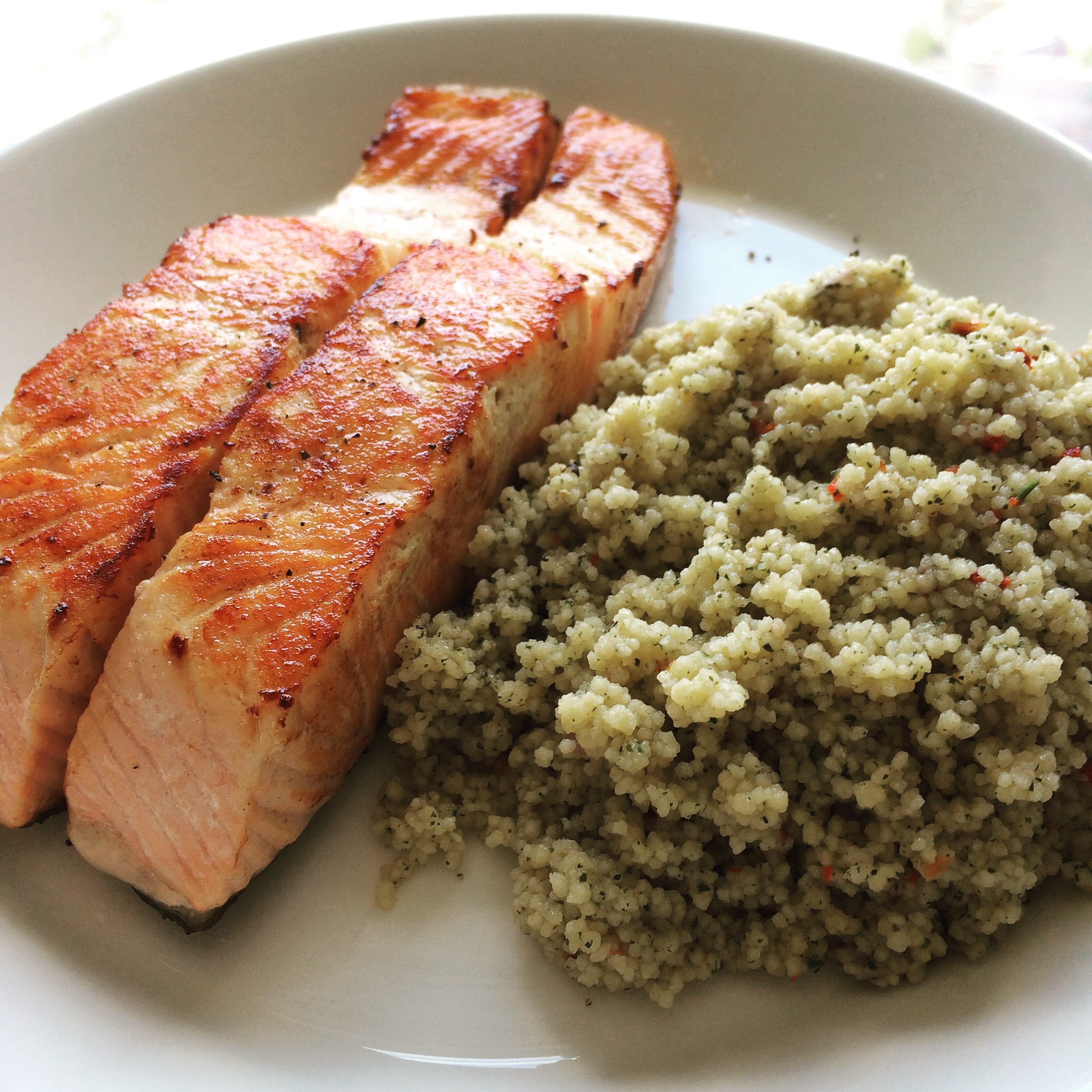 Fried Salmon with Couscous